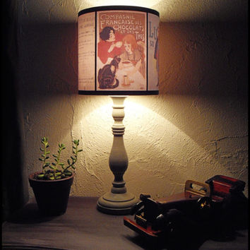Back To School Lamp Shade Lampshade - retro advertising, french decor, shabby chic, school desk lamp, night light,vintage advertising, Paris