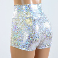 High Waist Silver on White Shattered Glass Holographic Metallic Spandex Shorts  Festival Rave Clubwear 151029