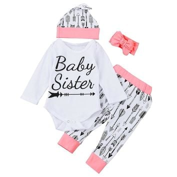 4PCS Newborn Baby Romper Arrow Baby Sister Outfit Clothes Set