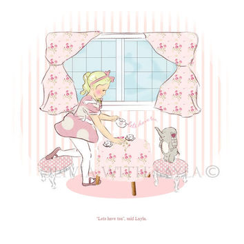 "Girls room art, Childrens wall art, Kids wall art,  wall art for nursery, Illustration for kids ""Afternoon tea party"" , 8.3 x 11.7 inches"