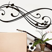 Music Note Wall Decal Infinity Sign Vinyl Sticker Decals Musical Notes Waves Music Wall Decal Recording Studio Decor Art C530