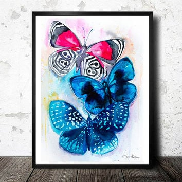 Butterflies 3 watercolor painting print, animal, illustration, animal watercolor, animals paintings, animals, portrait, Butterfly