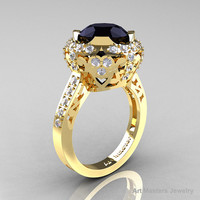 Modern Edwardian 14K Yellow Gold 3.0 Carat Black and White Diamond Engagement Ring, Wedding Ring Y404-14KYGDBD