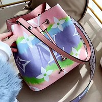 LV 2020 New Rainbow Print Women's Shoulder Bag Bucket Bag Crossbody Bag