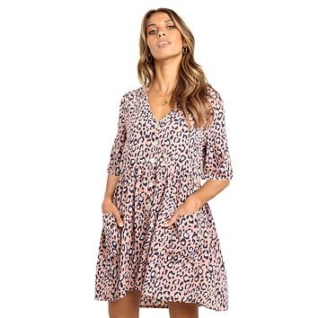 Pink Leopard Print Button Half Sleeves Swing Dress