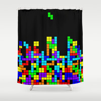 ode to tetris Shower Curtain by studiomarshallarts
