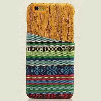 Green Ethnic Style iPhone 6 6s Plus Case Handmade Cloth Cover Gift-172-170928