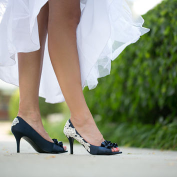Wedding Shoes - Navy Blue Wedding Heel with Ivory Lace. US Size 8.5
