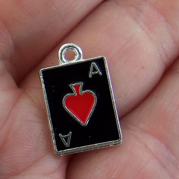 6 Ace of spades charms, card charm, las vegas pendant, casino, poker, playing cards, poker jewelry, black and red, alice in wonderland, F374
