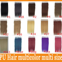 NEW 1set=20pcs Remy human hair Weave PU Skin Weft Tape hair extensions 16 18 20 22 24 inch Brazilian malaysian indian High quality