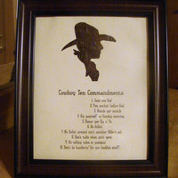 Cowboy Silhouette and Cowboy Commandments Framed Print.