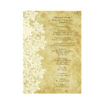 Vintage White Queen Ann's Lace Wedding Program Personalized Announcement from Zazzle.com