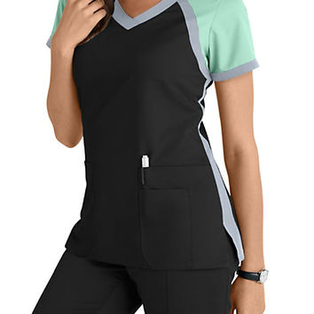 Grey's Anatomy 3 Pocket Color Block V-neck Scrub Tops | Scrubs & Beyond