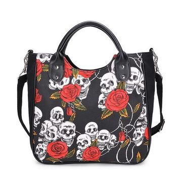 Women Handbag Fashion Skull Rose Canvas Big Bag
