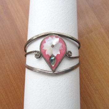 Childs Alpaca Mexico cuff pink bracelet Mother of Pearl
