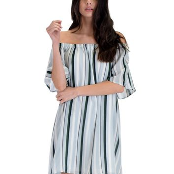 SL4429 Blue Grey Short Sleeve Off Shoulder Stripes Shift Dress With Tie Sleeves