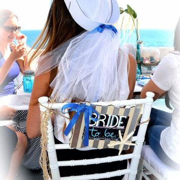 White Nautical Bride Sailor hat w/ veil! perfect for a nautical bachelorette party or bridal shower,bachelorette cruise.beach wedding