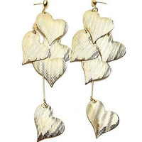 The Heart  Drop Earrings in Gold or Silver