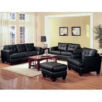 Samuel Collection 4PC Living Room Group in 100% Black Bonded Leather $1470.07