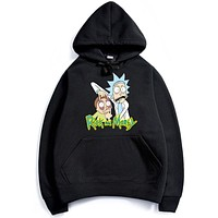 Rick and Morty Anime winter casual coat Mens cashmere sweater and warm Black
