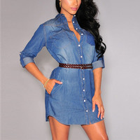 Long Sleeve Single Breasted Jeans Dress