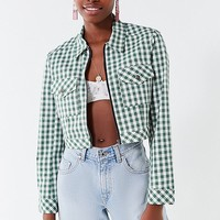 UO As If Cropped Gingham Jacket | Urban Outfitters