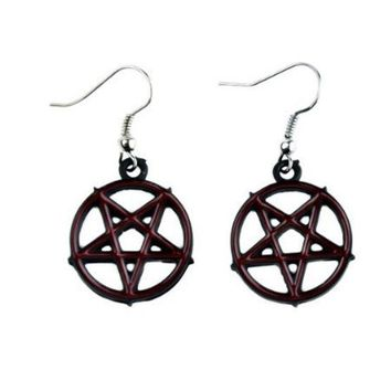 ac spbest Red Inlay Inverted Pentagram Earrings Cosplay