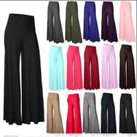 Womens Palazzo Wide Leg Trousers Ladies Plain Flared Legging Pant Plus Size 8-26