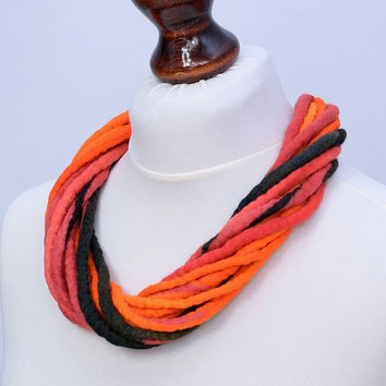 Twisted rope necklace in bright orange, red & black - multistrand felt jewelry - twist, multi strand, fiber necklace [N112]