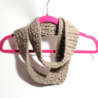 Taupe infinity scarf, Women's wool scarf, Crochet cowl, Winter Scarf