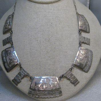 "Vintage Silver Mexico Aztec Storyteller Panel Necklace, 23"", 1960's. 26.82 grams, hand made chain."