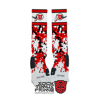 Custom Nike Elite Socks -  University of Utah Custom Nike Elites - U of U, Custom Elites, Utah Socks, Utah Utes