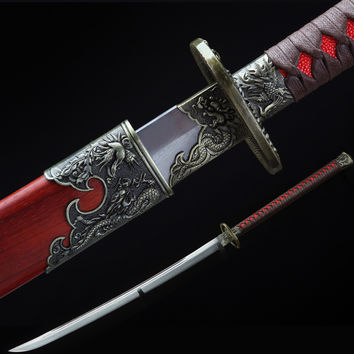 High Quality Hand Forged Carbon Steel Chinese Sword Sharp Blade Alloy Fitting
