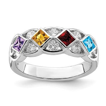 Sterling Silver Genuine Square Blue Topaz, Garnet, Citrine and Amethyst Ring