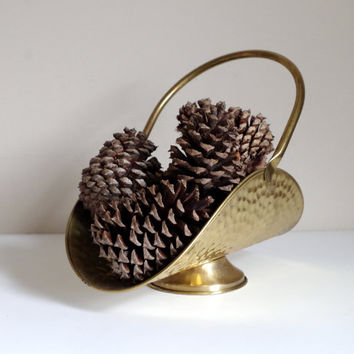 Vintage Brass Basket, Made in Holland, Marked FTDA Nijhof- Zevenaar, Rustic Hammered Design, Hinged Articulting Handle, Metal Display Basket