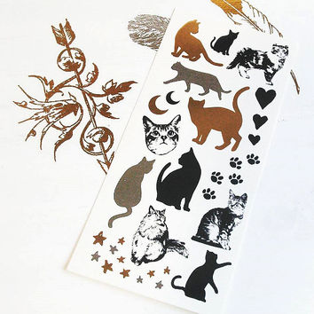 1pcs - Metallic Temporary Tattoo - Sweet Cats - Body Jewelry Gold and Silver Foil tattoo