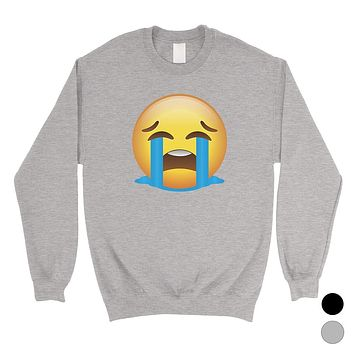 Emoji-Crying Unisex Crewneck Sweatshirt Emotional Halloween Costume