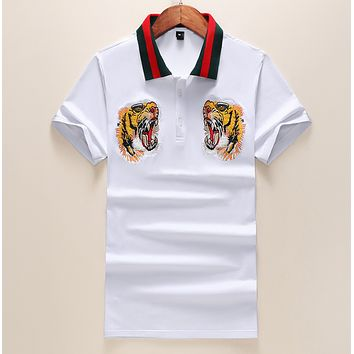 GUCCI Fashion New Embroidery Tiger Women Men Sports Leisure Top T-Shirt White