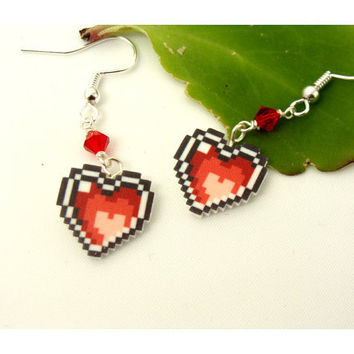Legend of Zelda Heart Container Earrings  retro by CatrinasToybox