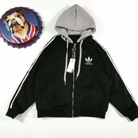 Adidas Winter Three Stripe  Zip-Up Hoodie Jacket