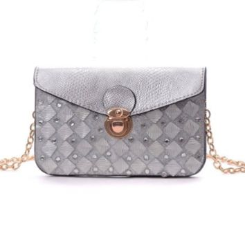 Gray Silver Envelope Clutch Epic Trendy Handbag with Shoulder Strap