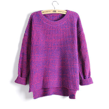 Spring Women Mixed Color Wool Plus Size Oversized Loose Knitted Pullover Jumper Sweater O-Neck Long Sleeve Fashion Free Shipping