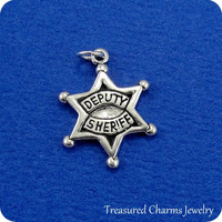 Deputy Sheriff Star Charm - Sterling Silver Deputy Sheriff Charm for Necklace or Bracelet