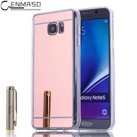 "Cenmaso Cases for Samsung Galaxy Note 5 Note5 5.7"" Luxury Mirror Soft Case Plating TPU Protection Back Cover Mobile Phone Shell"