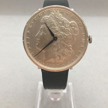 Sterling Silver 1890 Morgan Silver Dollar Swiss Manual Wind Movement Mens Watch