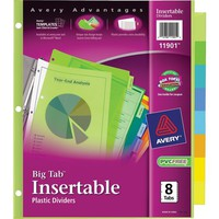 Avery Multicolored Plastic Insertable Tab Dividers, 8-Tab | Staples