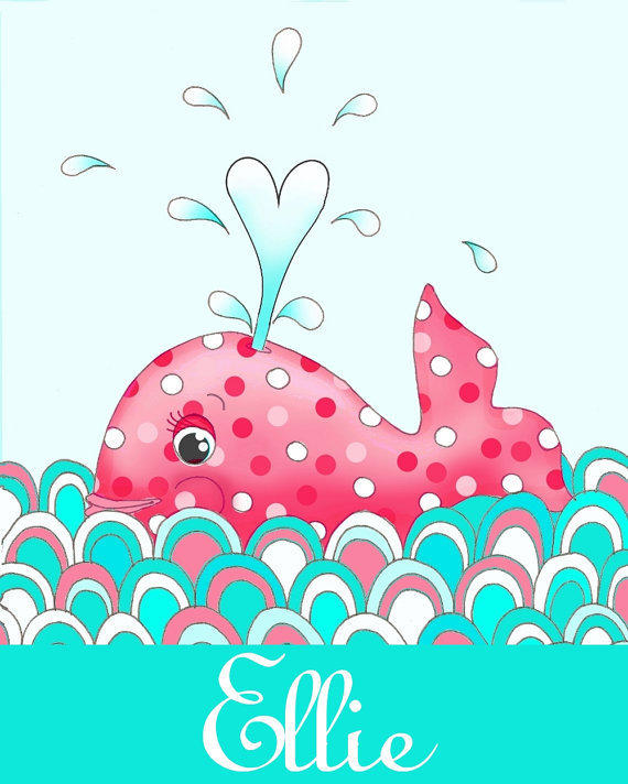 Personalized Coral red and turquoise whale, nautical nursery kids wall art, children decor, 8x10 illustration