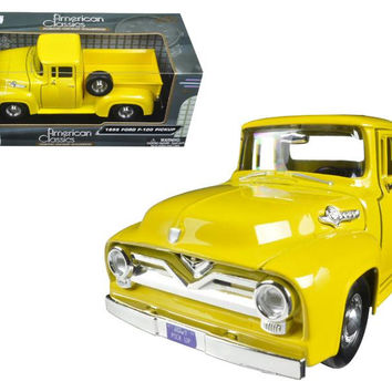 1955 Ford F-100 Pickup Truck Yellow 1-24 Diecast Model Car by Motormax