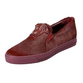 Versace Men's Burgundy Pony Hair Leather Loafers Slip On Shoes Sz US 11 IT 44