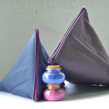 Purse triangle shape in colored cotton with colored zip / glasses pouch / mobile phone holder / clutch / gift for her